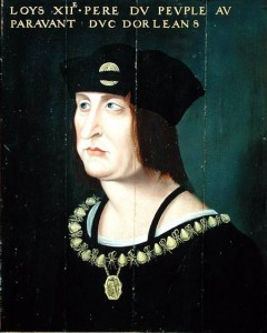 XGS165812 Portrait of Louis XII (1462-1515) King of France (oil on canvas) by French School, (16th century) oil on panel 65x55 Musee des Beaux-Arts, Angers, France Giraudon French, out of copyright
